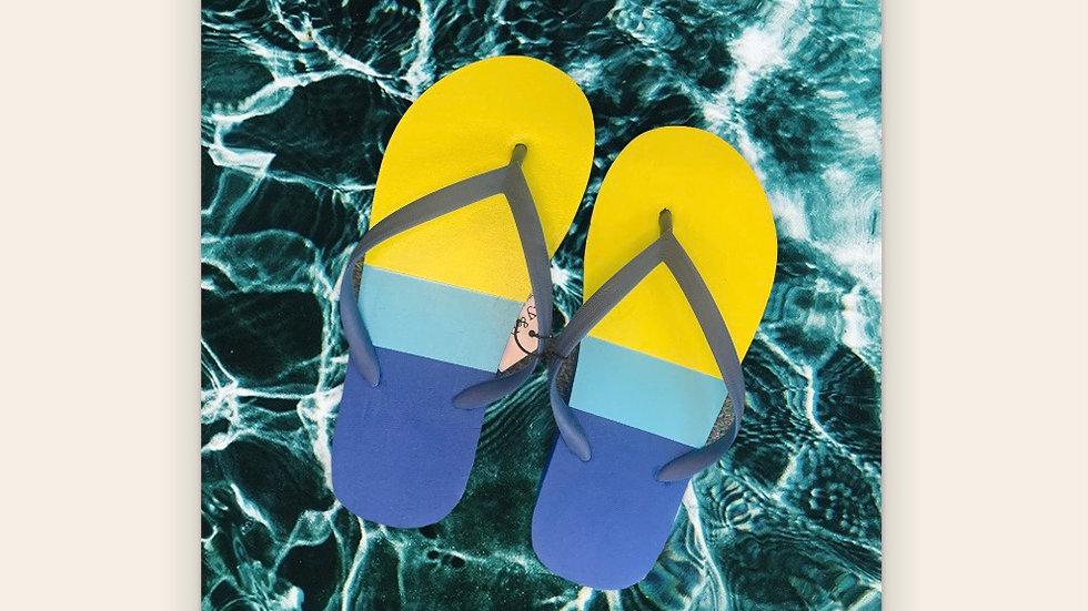 Children's Blue & Green Flip Flops