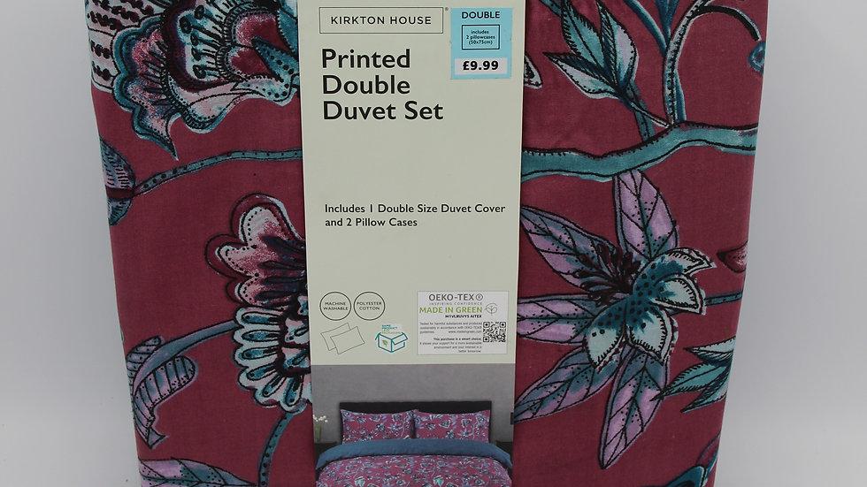 Purple Printed Double Duvet Set