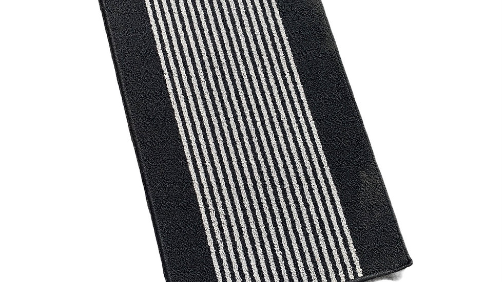 Black Striped Washable Mat