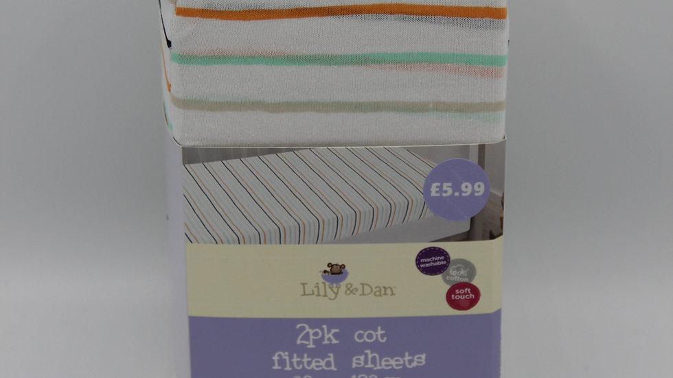 Cot Fitted Sheets 2pk
