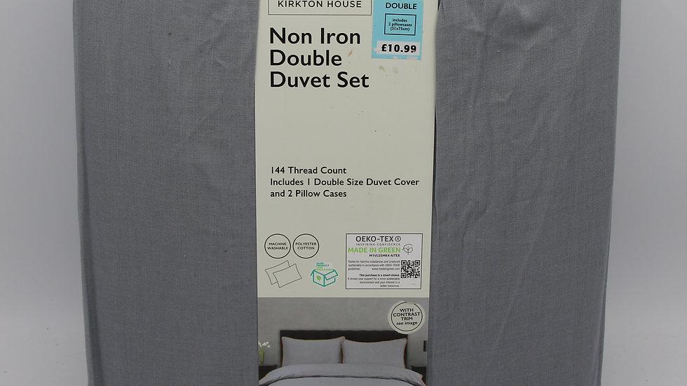 Non Iron Double Duvet Set Grey