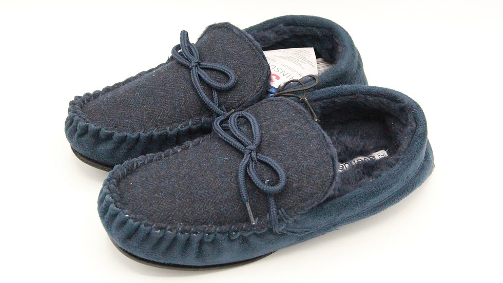 Men's Blue Moccasin Slippers