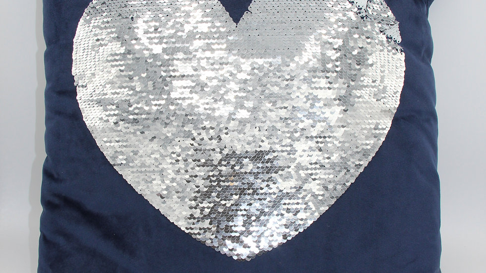 Navy Heart Sequin Cushion