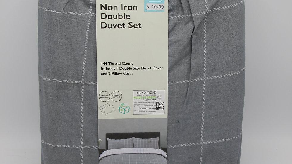 Non Iron Double Duvet Set - Grey Check