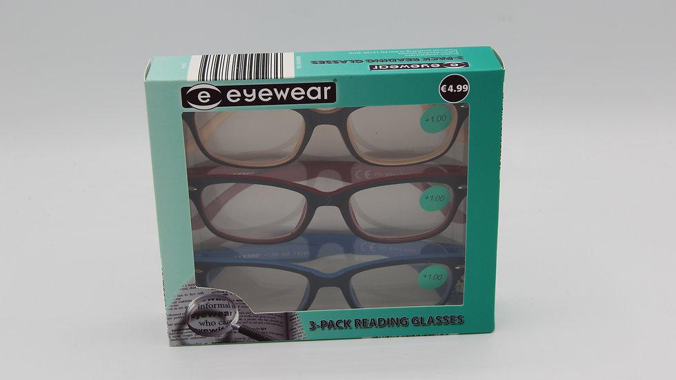Reading Glasses Black Frame, Coloured Insides