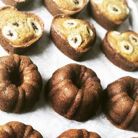 Bundt cake and heart shaped bannana bread