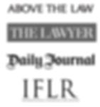 Above the Law logo, The Lawyer logo, Daily Journal logo, IFLR logo