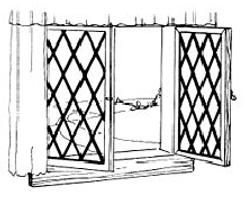 Diagram of a hinged antique wood window