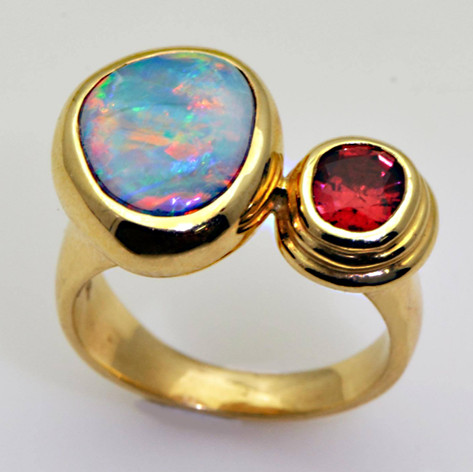 14K Ring with Australian Black Opal and Burmese Red Spinel