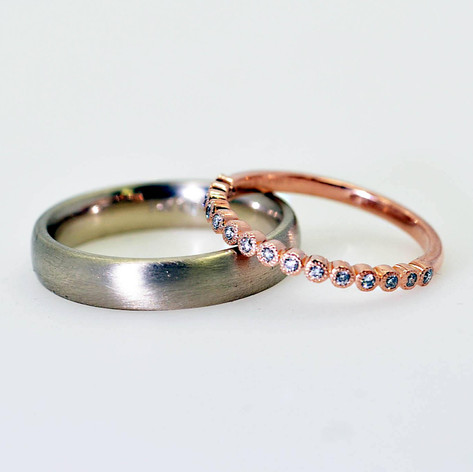Wedding Ring set with White and Rose Gold