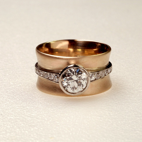 14K Yellow and White Gold Diamond Engagement Ring