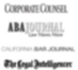 Corporate Counsel logo, ABA Journal logo, California Bar Journal logo, The Legal Intelligencer logo