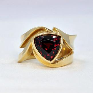 14K Triangular Rhodolite Garnet Waltz Style Ring