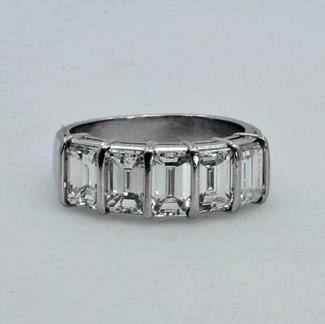 Platinum Wedding Ring with 2.80ct Emerald-cut Diamonds