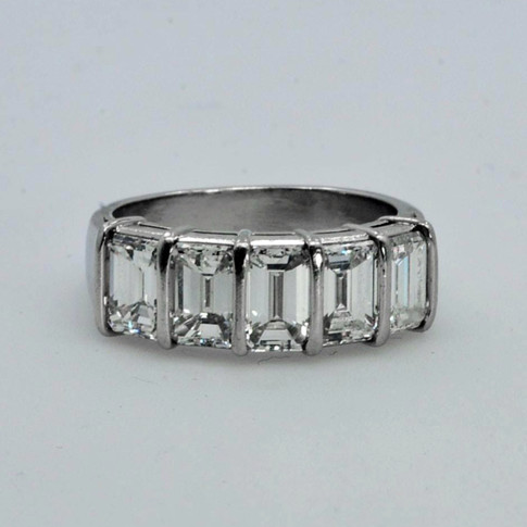 Platinum Wedding Ring with 2.80ct Emerald-cut Diamonds