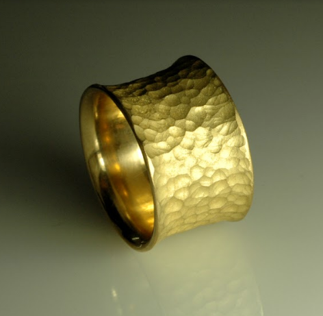 22K Ring with hammered texture