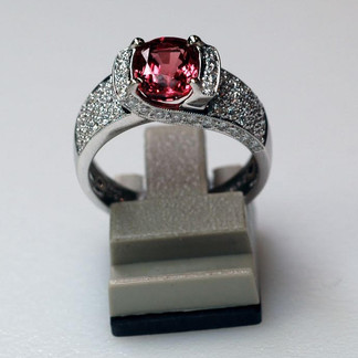 Burmese Pink Spinel and Diamond Ring