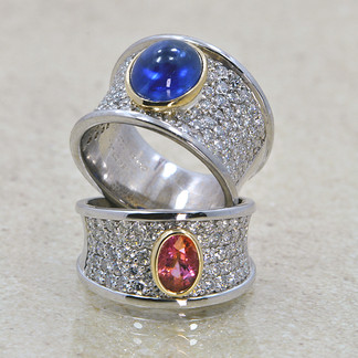 Platinum Diamond Rings, Blue cabochon sapphire & oval Parparasche (pink/peach color) Ceylon sapphire