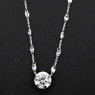 Platinum Necklace with one round brilliant-cut center diamond and briolette-cut diamonds
