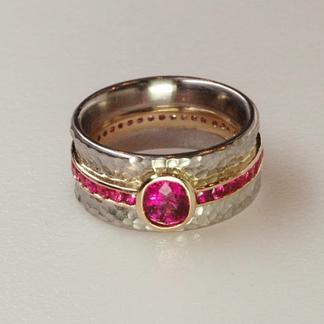 Hot Pink Sapphire Platinum Ring