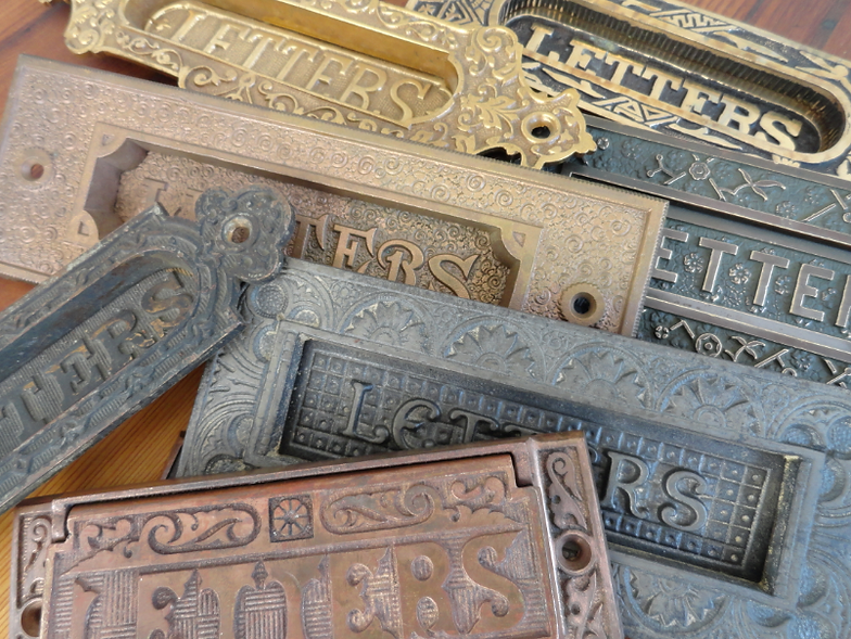 Our selection of antique door mail slots for purchase for installation in  San Francisco - Salvaged Antique Door Hardware|San Francisco|Raven Restoration