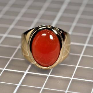 18K Red Jade Men's Ring