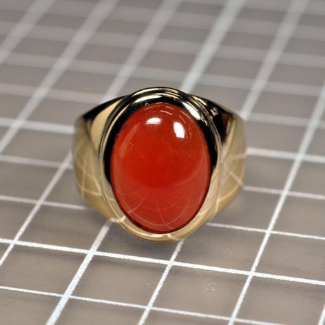18K Red Jade Men's Ring