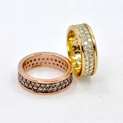 Rose Gold and Yellow Gold Diamond Rings