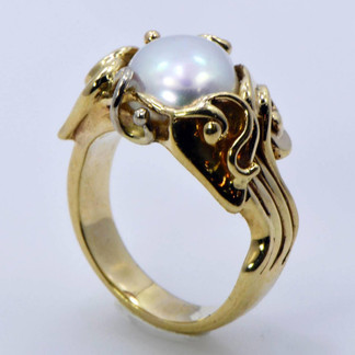 14K Floral Ring with Baroque South Sea Pearl