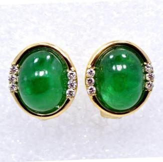 Cabochon-cut Emerald and Diamond Earrings