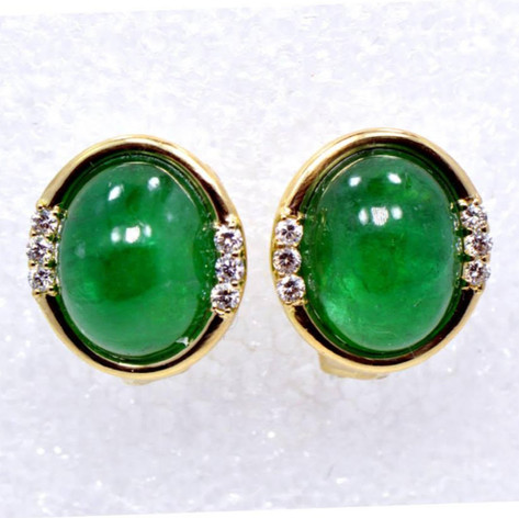 Cabochon-cut Emerald and Diamond Earrings