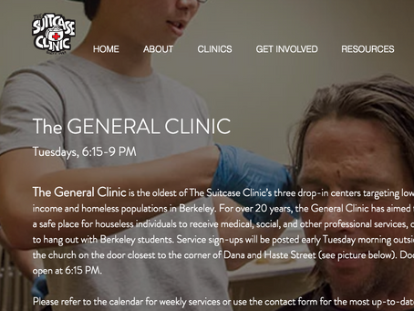 Suitcase Clinic is open every Mondays 6-9pm