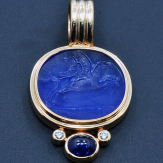 18K Pendant with Antique Carved Venetian Glass set with cabochon-cut Sapphire and two diamonds