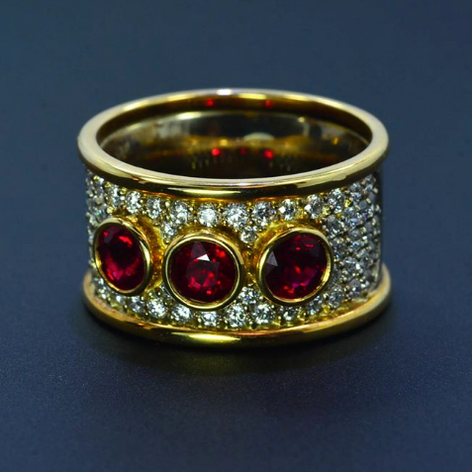 18K Burmese Rubies and Diamond ring