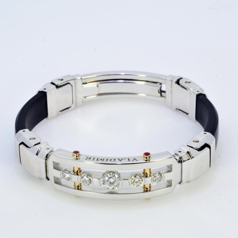 Men's Platinum Bracelet with Diamonds and Rubies