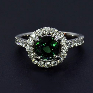 Platinum Halo Style Ring with Alexandrite and Diamond
