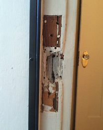 the best way to repair a damaged door frame is to remove the old hardware