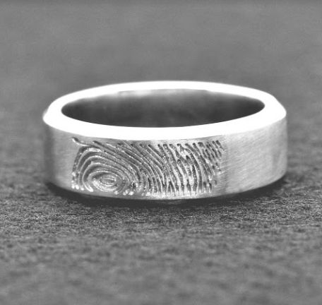14K Band with fingerprint texture