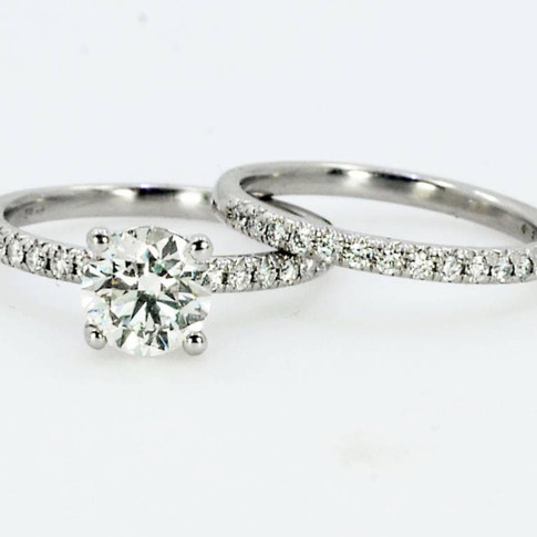 Platinum Diamond Engagement and Wedding Set