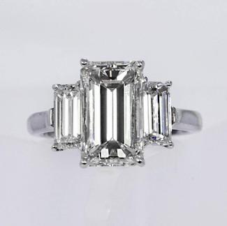 Platinum Emerald-cut Diamond Engagement Ring