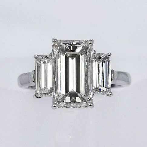 Platinum Emerald-cut Diamond Engagement Ring