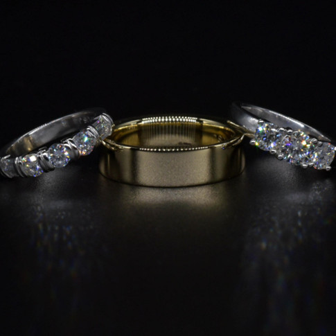 14K Wedding Band with Platinum Diamond Engagement/Wedding Set
