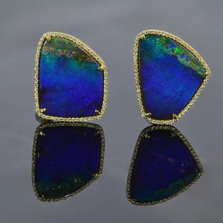 18K Earrings with Australian Boulder Opal and Diamonds