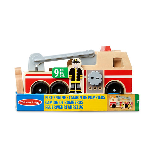 Camion de pompier et figurines en bois