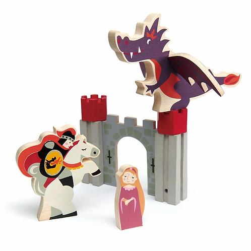 Chevalier, princesse et dragon en bois, 8pièces