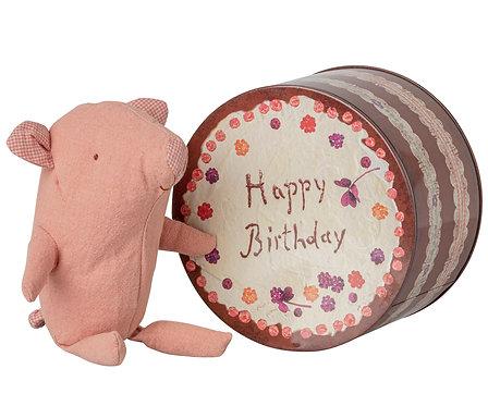 Doudou petit cochon dans sa boite métal anniversaire