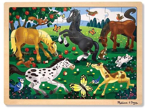 Puzzle en bois chevaux