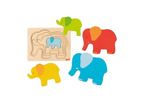 Puzzle à 5 couches l'éléphant