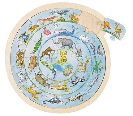 Puzzle ronde des animaux