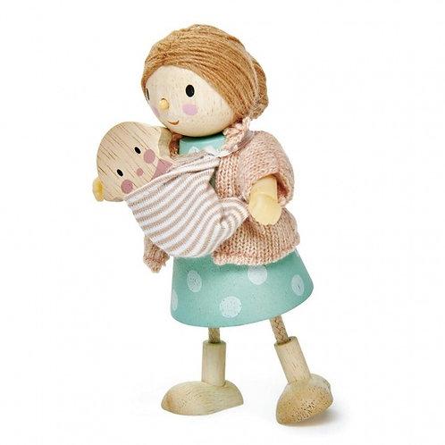 Poupée flexible en bois, maman avec son bébé
